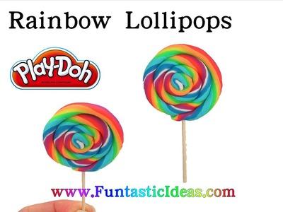 DIY Rainbow Lollipops Swirl Candy Play Doh - How to playdough tutorial by Funtastic Ideas