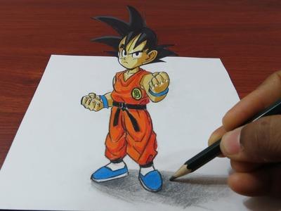 How to Draw 3D Goku Easy - Dragon Ball