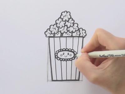 How to Draw a Cartoon Box of Popcorn