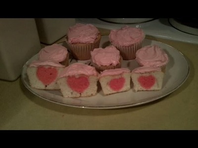 Valentine Cupcakes with a Heart in the Middle