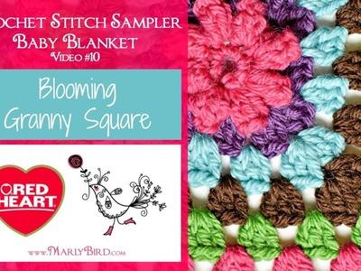 Blooming Granny Square  (Crochet Stitch Sampler Baby Blanket Video #10)