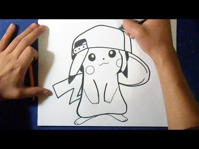 Cómo dibujar a Pikachu con Gorra | how to draw Pikachu