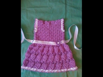 Crochet dress| How to crochet an easy shell stitch baby. girl's dress for beginners 57
