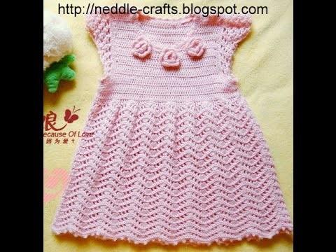 Crochet dress| How to crochet an easy shell stitch baby. girl's dress for beginners 63
