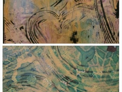 Gelli Plate Ghosting with Black Gesso and Dylusions Ink Spray JournalArtista LIVE