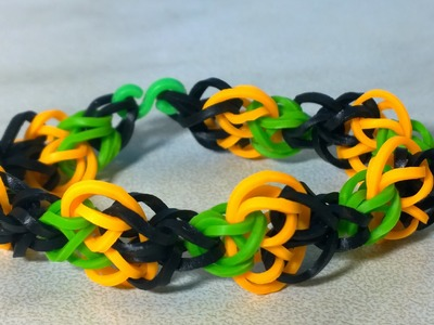 Halloween Pumpkin Loom Bracelet with Two Forks. NEW TUTORIAL. DIY