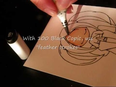 """How to color """"shiny"""" black hair w.Copics"""