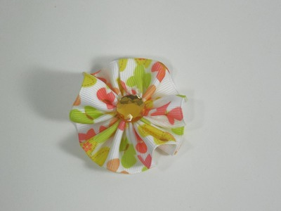 How To Make a Small Ribbon Circle Hair Bow.Clip