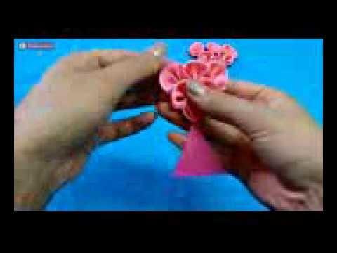 How to make kanzashi hair bow,Diy ribbon bow,baby headband tutorial