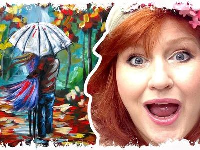 How to paint | Lovers Walking in Rain | Umbrella Art