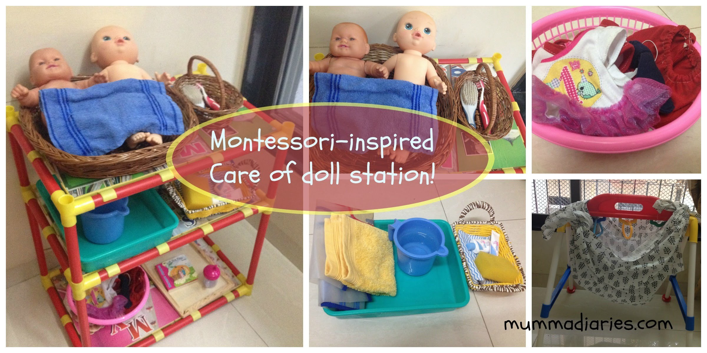 "How to set up a Montessori-inspired ""Care of doll"" station for toddlers!"