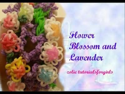 Rainbow loom Flower Blossom and Lavender Bracelet Tutorial