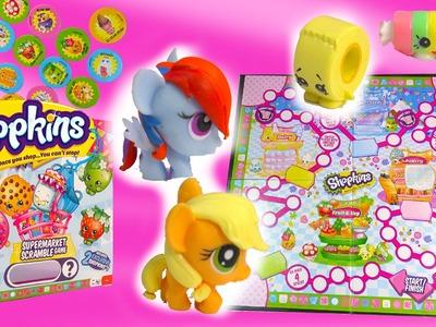 Shopkins Supermarket Scramble MLP Fash'ems Rainbow Dash Apple Jack My Little Pony Game Exclusive