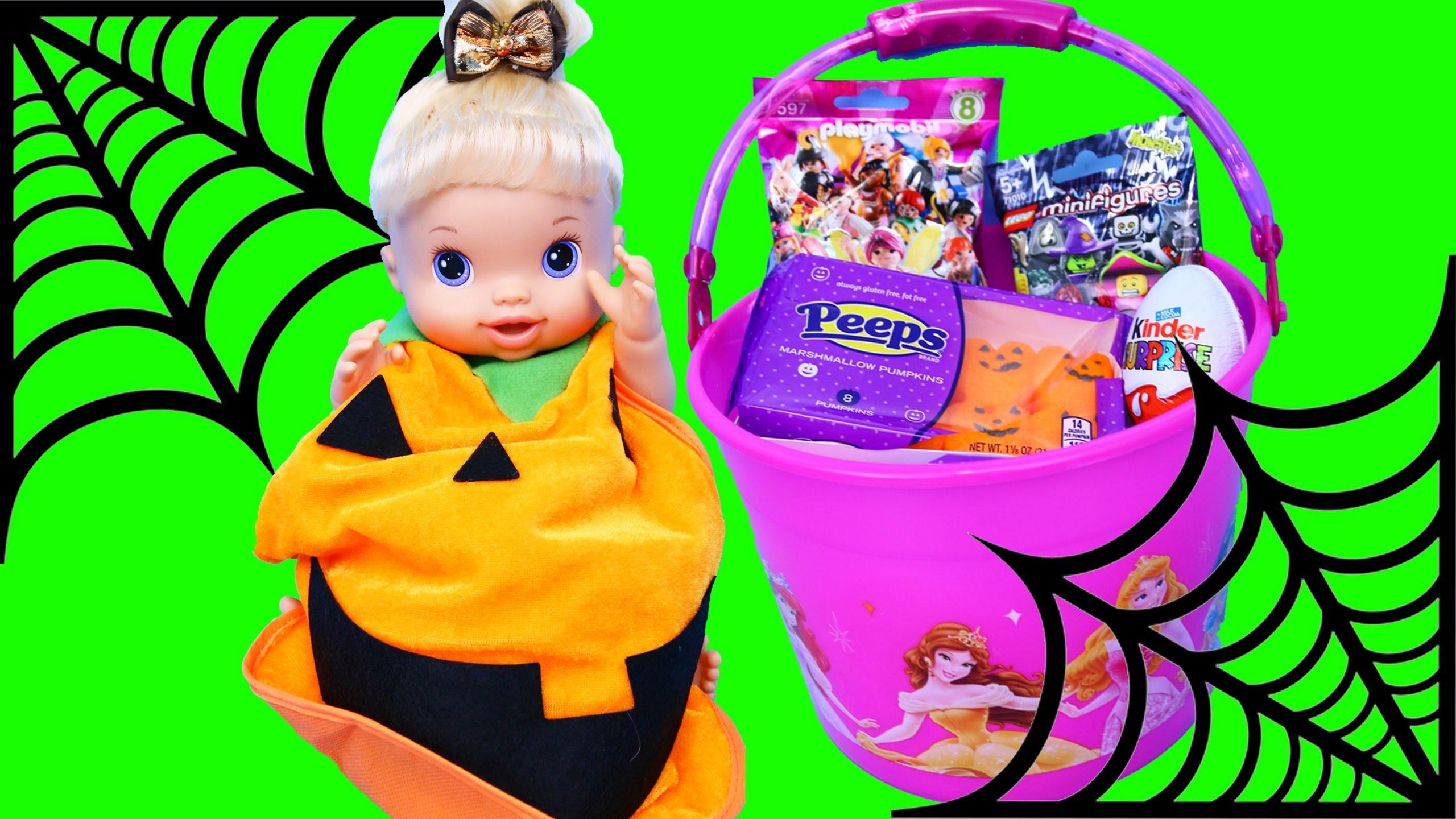 Baby Alive DIY Halloween Pumpkin Costume & Surprise Toys Buckets Halloween Candy & McDonalds Toys
