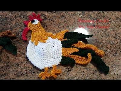 Crochet Rooster Hot Pad Pot-holder and Kitchen Towel Topper Part 2 of 2 DIY Tutorial