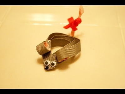 How to make a cute little MOUSE hair clip.hairbow *tutorial*