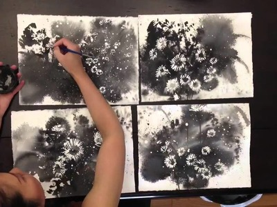 How to paint tint daisy with masking fluid, water color and