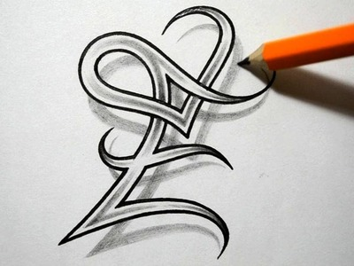 Initial E and Heart Combined Together - Celtic Weave Style - Letter Tattoo Design