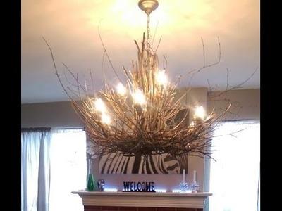 Twig Chandelier - DIY Rustic Light Fixture Project