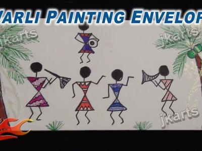 Warli Painting (Tribal Art. Warli Art ) on Envelope  - JK Arts 225