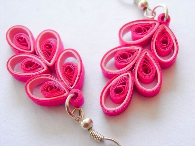 Craft Can Heal How to make Beautiful Pink flower Earnings design Quilling     quilling papers