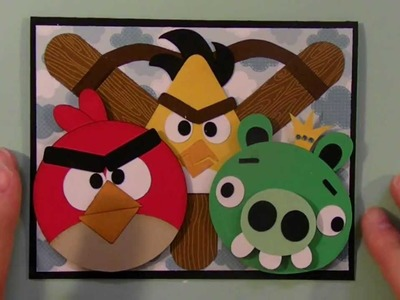 Cricut Angry Birds card using George and Basic shapes cartridge
