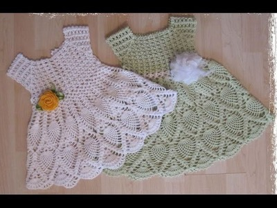 Crochet dress  How to crochet an easy shell stitch baby. girl's dress for beginners 9