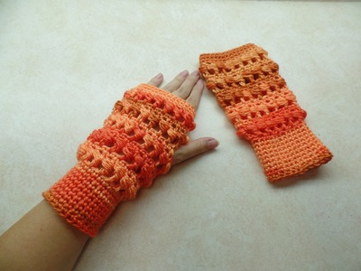 #Crochet Side Puff Stitch Fingerless Gloves Wristers #TUTORIAL