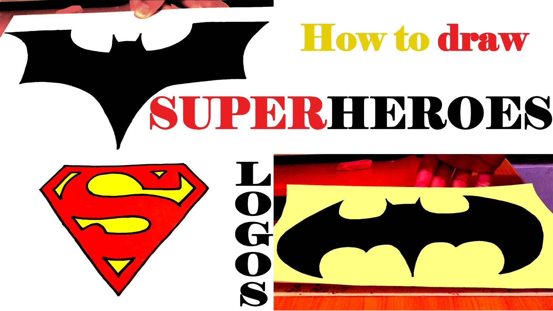 How To Draw Superheroes Logos Batman Superman Easy Draw Easy Stuff