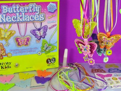 DIY 3D Butterfly Necklaces! Make Your Own Sparkly Neclaces with Glitter Gems & MORE! FUN