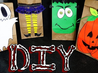DIY ✄  DECORA BOLSAS DE PAPEL KRAFT PARA HALLOWEEN ✝ (4 IDEAS)