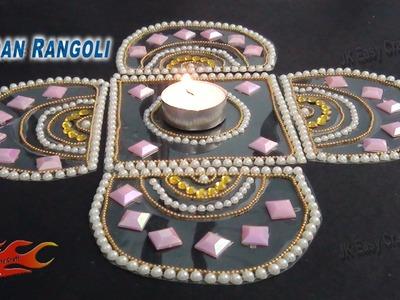 DIY Easy Kundan Rangoli Design on OHP Sheet | How to make |JKEasyCraft 066