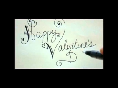 Happy Valentines Day DIY Card Easy Fancy Writing