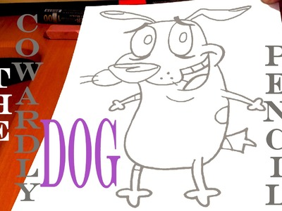 How to draw COURAGE The Cowardly Dog EASY with Pencil, draw easy stuff but cool | SPEED ART