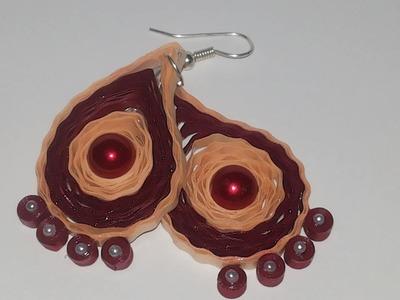 Quilling paper earrings making   new design Earrings Making Methods  Earrings tutorial video