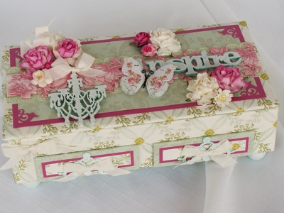 Vintage Shabby Premade altered Keepsake Box AND Card Kit DIY by Terry