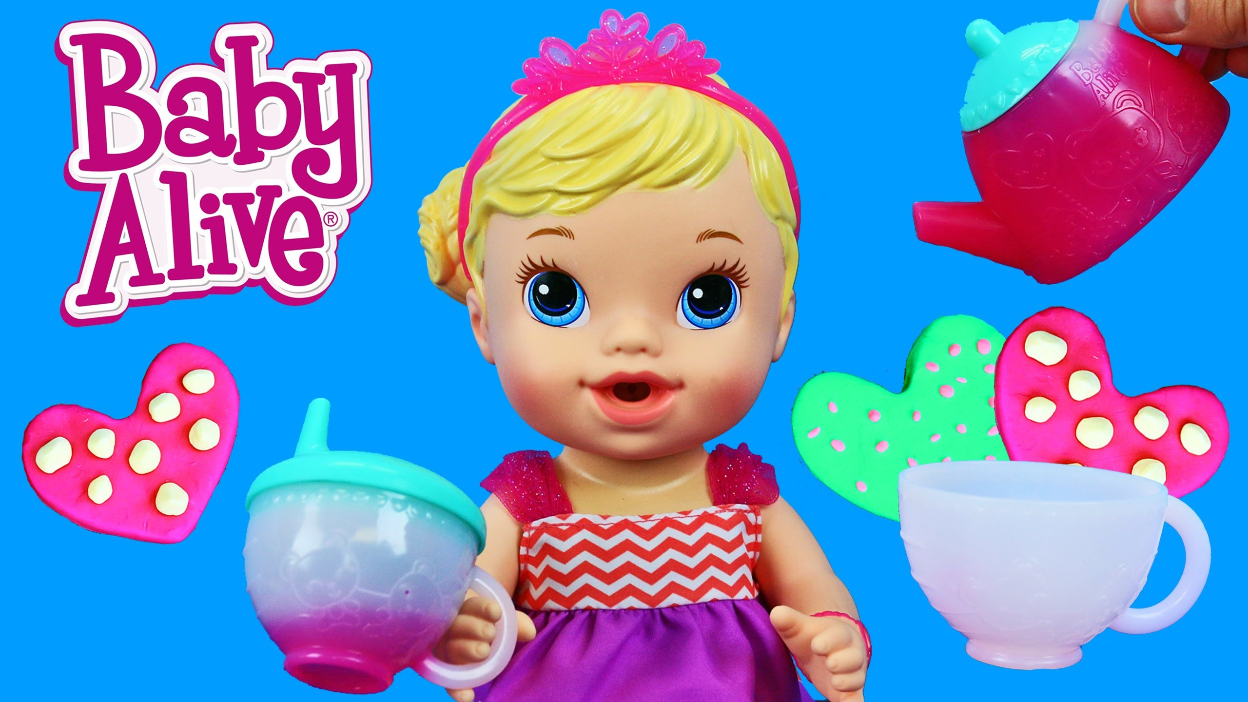 Baby Alive Teacup Surprise Baby Doll Fun Tea Party with DIY Play Doh Cookies by DisneyCarToys
