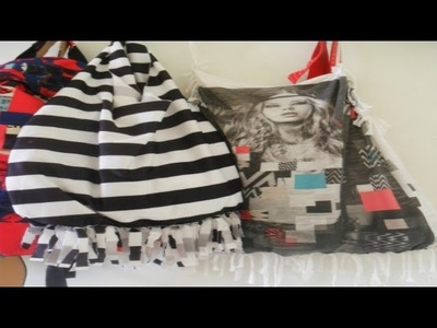 DIY -NO SEW- A bag from an old t-shirt !.recycler un t-shirt