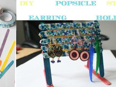DIY Popsicle sticks earring holder!!
