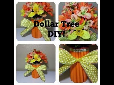 Easy Dollar Tree DIY Pencil Vase Flower Arrangement!