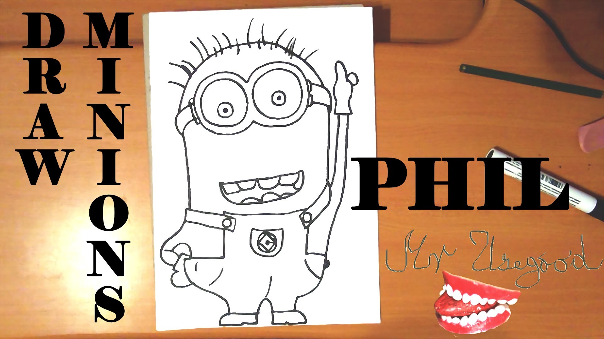 How to draw a MINION Phil Easy from DESPICABLE ME 2,draw easy stuff but cool on paper|SPEED ART
