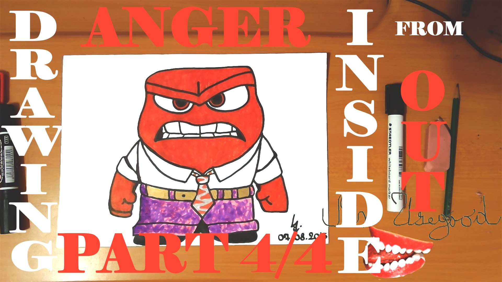 How To Draw ANGER From INSIDE OUT Step By EasyDisney Characters