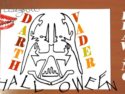 How to draw Halloween stuff easy: draw DARTH VADER Pumpkin Carving Easy, Stencil, SPEED ART