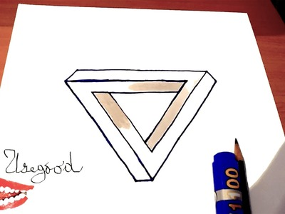 How to draw The IMPOSSIBLE TRIANGLE Easy-Optical Illusion 3D   draw easy stuff but cool   SPEEDY
