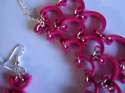 Paper Quilling Half Curve Jewelry Set (FAH242) - Not Tutorial