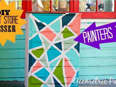 DIY geometric pattern with painters tape and chalk type paint