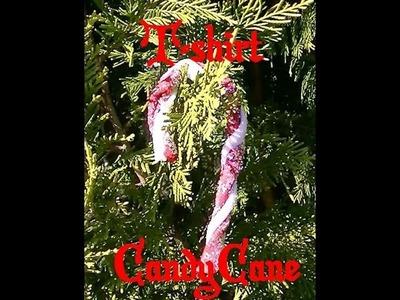 DIY T-shirt Yarn Candy Cane Ornament