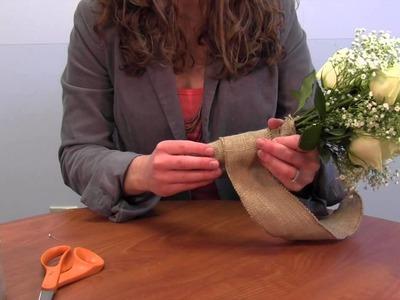 """DIY Bouquet Wrap with 2 5"""" Burlap Ribbon"""