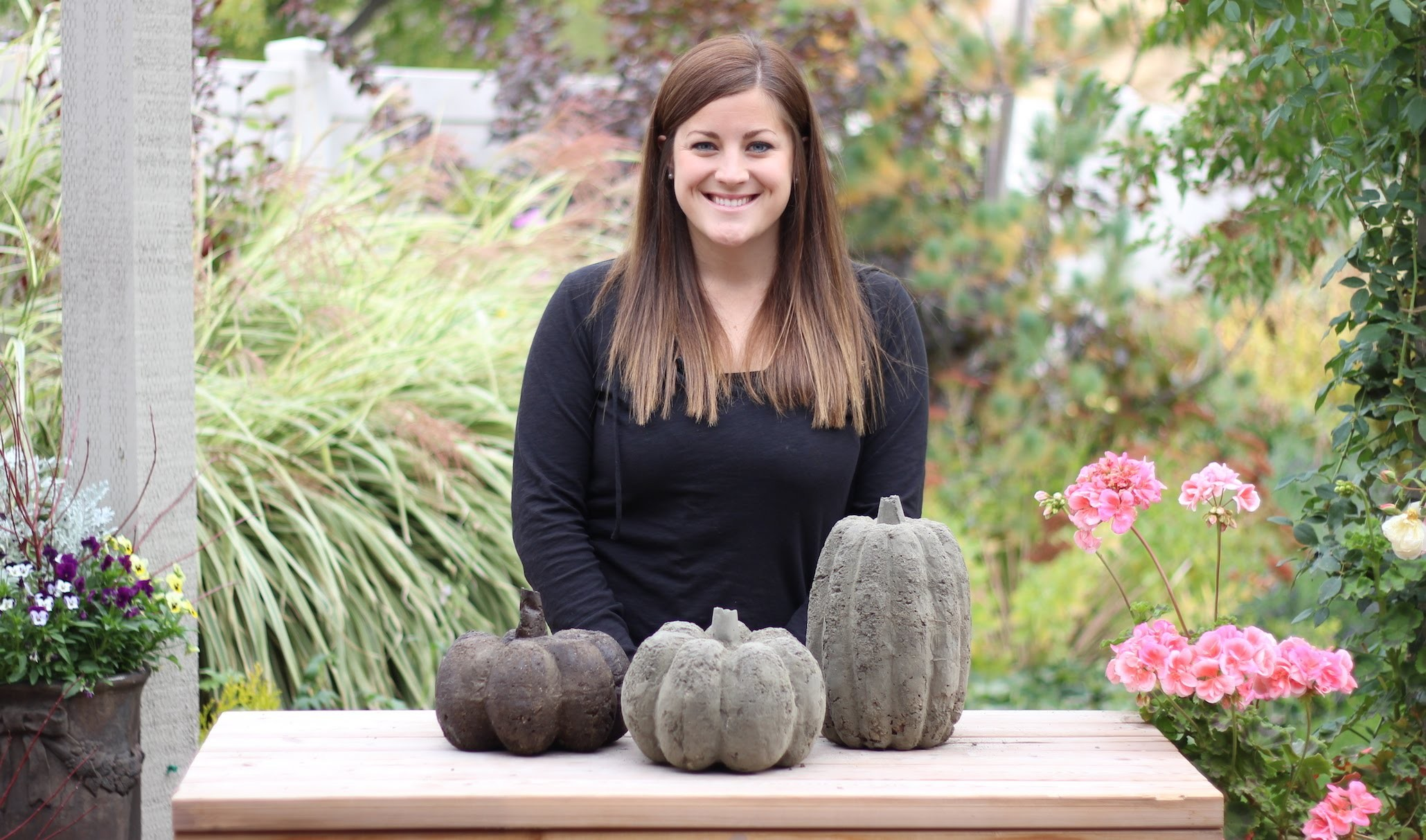 DIY Concrete Pumpkins for Fall
