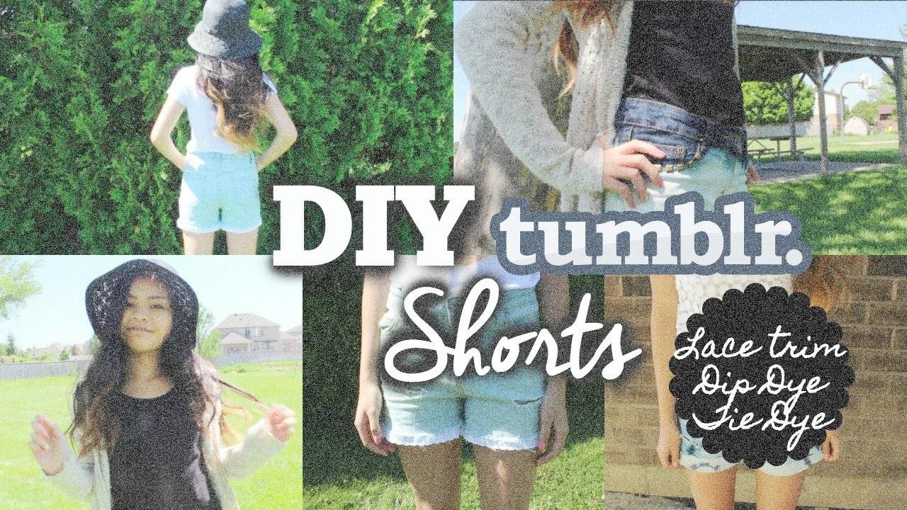 DIY Shorts: Lace Trim, Dip Dye, & Tie Dye!